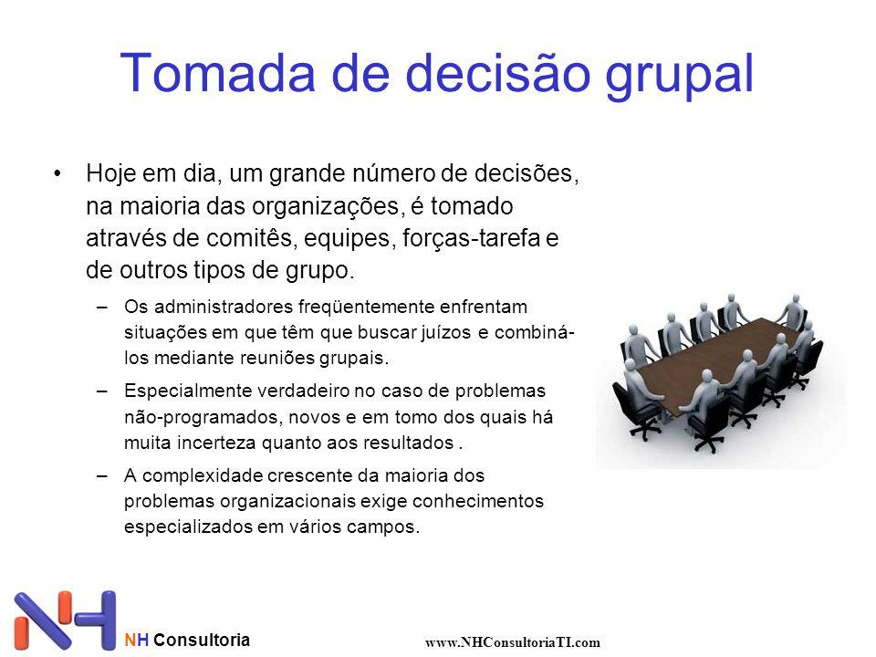 Tomada de decisão grupal Hoje em dia, um grande número de decisões, na maioria das organizações, é tomado através de comitês, equipes, forças-tarefa e de outros tipos de grupo.