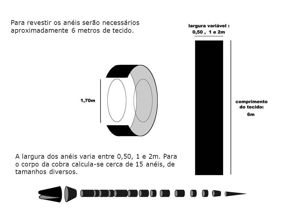 Para revestir os anéis serão necessários aproximadamente 6 metros de tecido. A largura dos anéis varia entre 0,50, 1 e 2m. Para o corpo da cobra calcu