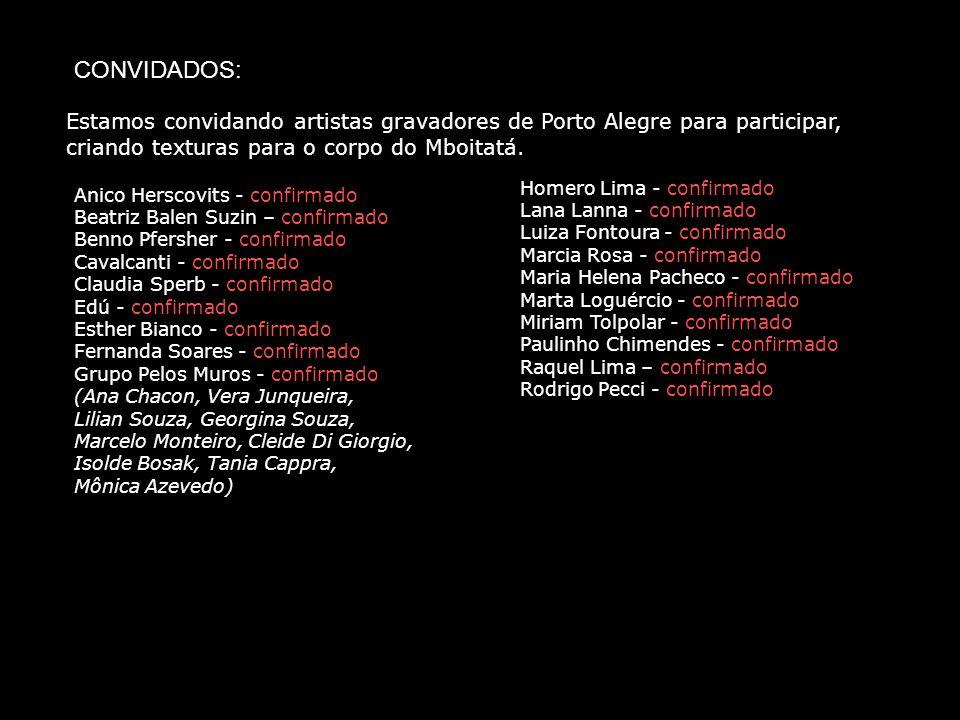 Estamos convidando artistas gravadores de Porto Alegre para participar, criando texturas para o corpo do Mboitatá. CONVIDADOS: Anico Herscovits - conf