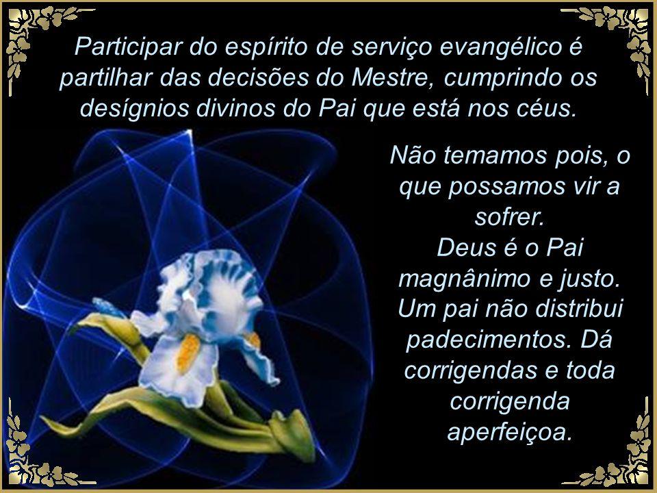 Participar do espírito de serviço evangélico é partilhar das decisões do Mestre, cumprindo os desígnios divinos do Pai que está nos céus.