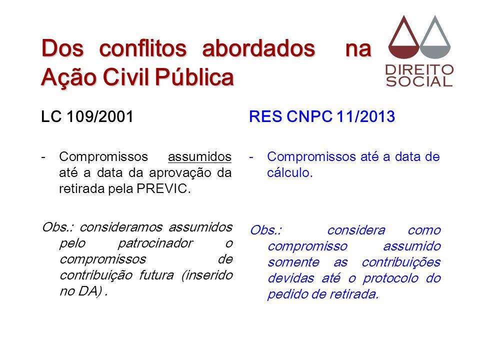 Dos conflitos abordados na Ação Civil Pública LC 109/2001 -Compromissos assumidos até a data da aprovação da retirada pela PREVIC. Obs.: consideramos