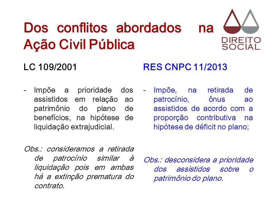 Dos conflitos abordados na Ação Civil Pública LC 109/2001 -Impõe a prioridade dos assistidos em relação ao patrimônio do plano de benefícios, na hipót