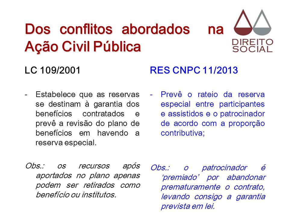 Dos conflitos abordados na Ação Civil Pública LC 109/2001 -Estabelece que as reservas se destinam à garantia dos benefícios contratados e prevê a revi