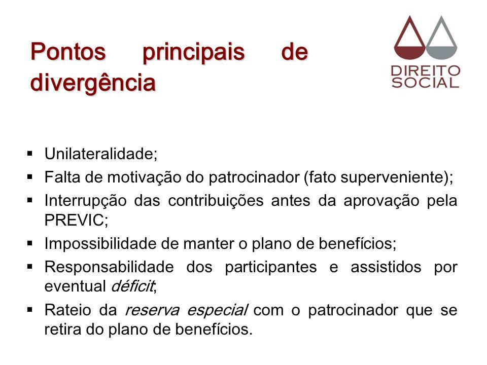 Pontos principais de divergência Unilateralidade; Falta de motivação do patrocinador (fato superveniente); Interrupção das contribuições antes da apro