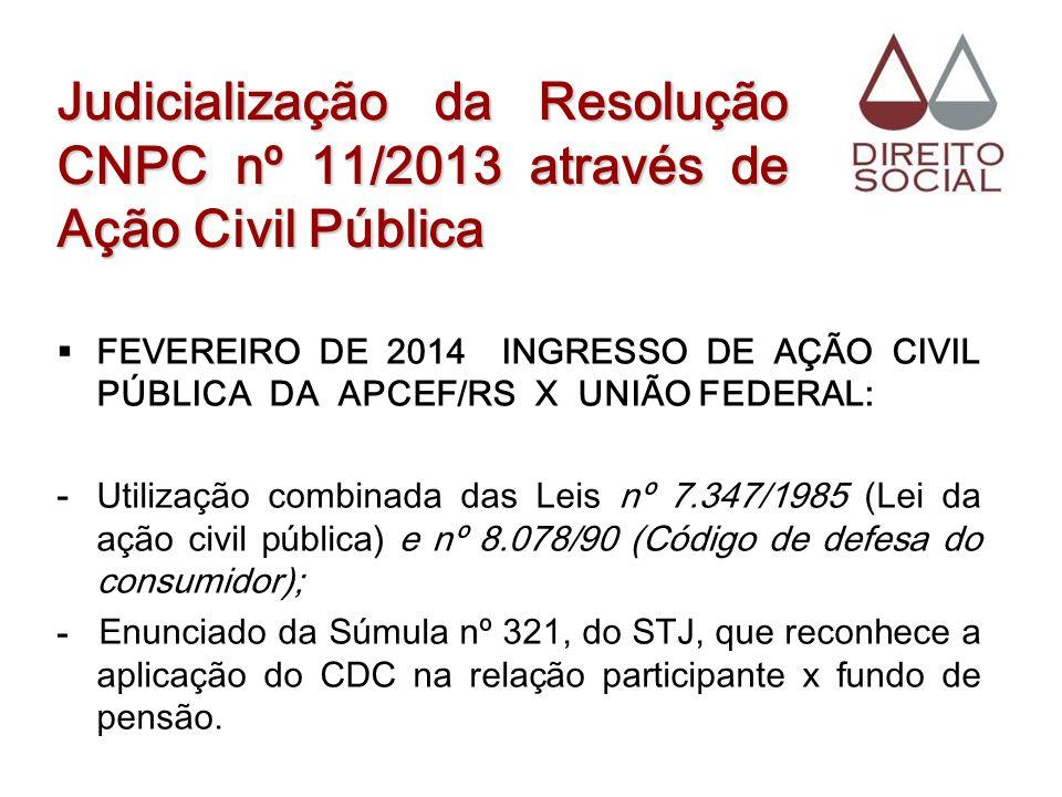 Judicialização da Resolução CNPC nº 11/2013 através de Ação Civil Pública FEVEREIRO DE 2014 INGRESSO DE AÇÃO CIVIL PÚBLICA DA APCEF/RS X UNIÃO FEDERAL