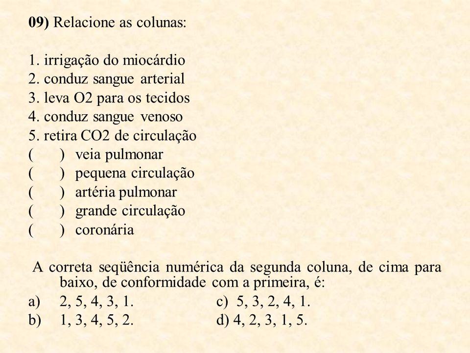 09) Relacione as colunas: 1. irrigação do miocárdio 2. conduz sangue arterial 3. leva O2 para os tecidos 4. conduz sangue venoso 5. retira CO2 de circ