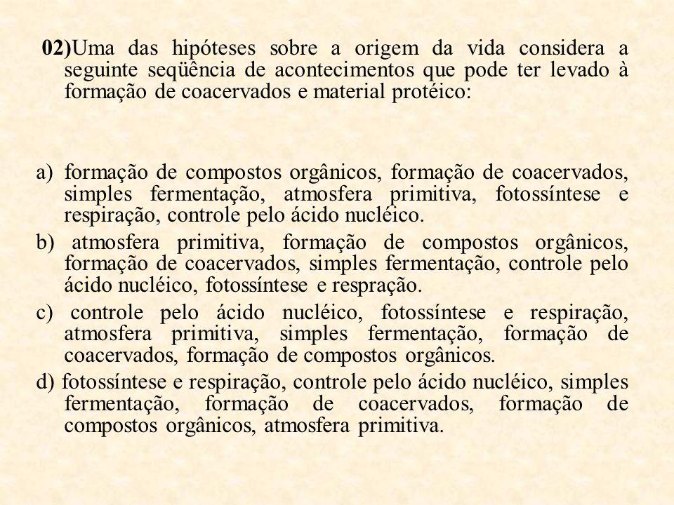 02)Uma das hipóteses sobre a origem da vida considera a seguinte seqüência de acontecimentos que pode ter levado à formação de coacervados e material