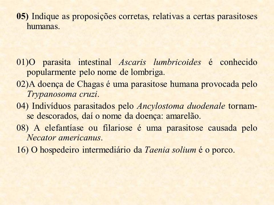 05) Indique as proposições corretas, relativas a certas parasitoses humanas. 01)O parasita intestinal Ascaris lumbricoides é conhecido popularmente pe