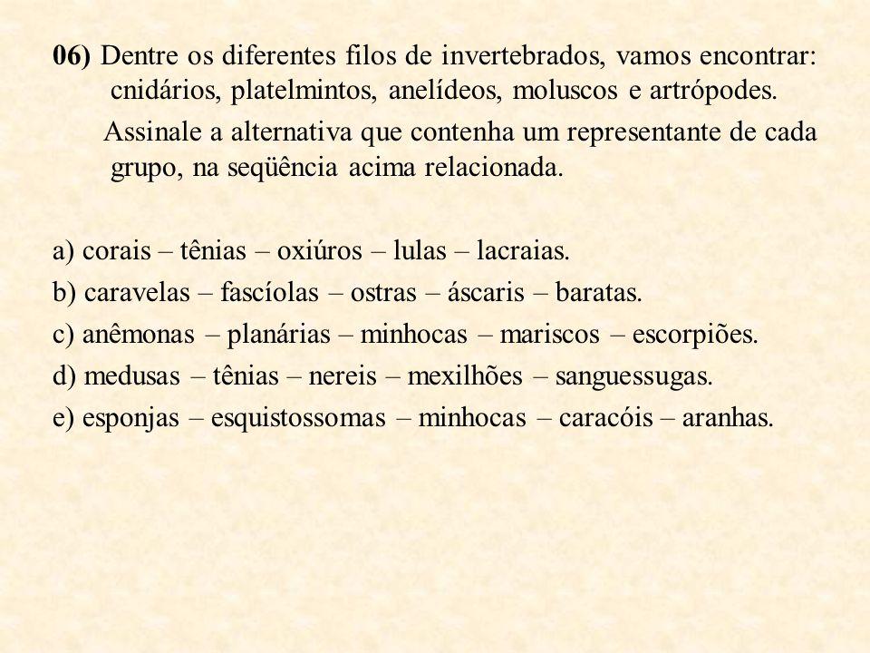 06) Dentre os diferentes filos de invertebrados, vamos encontrar: cnidários, platelmintos, anelídeos, moluscos e artrópodes. Assinale a alternativa qu
