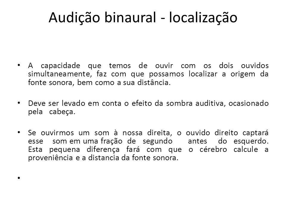 Audição binaural - localização A capacidade que temos de ouvir com os dois ouvidos simultaneamente, faz com que possamos localizar a origem da fonte sonora, bem como a sua distância.