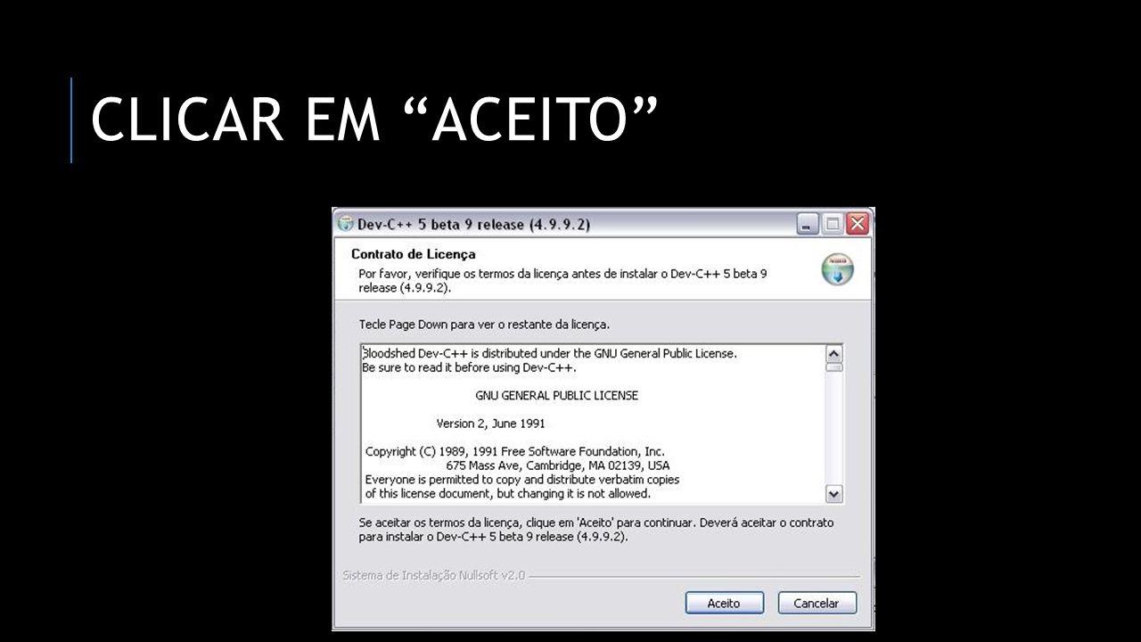 CLICAR EM ACEITO