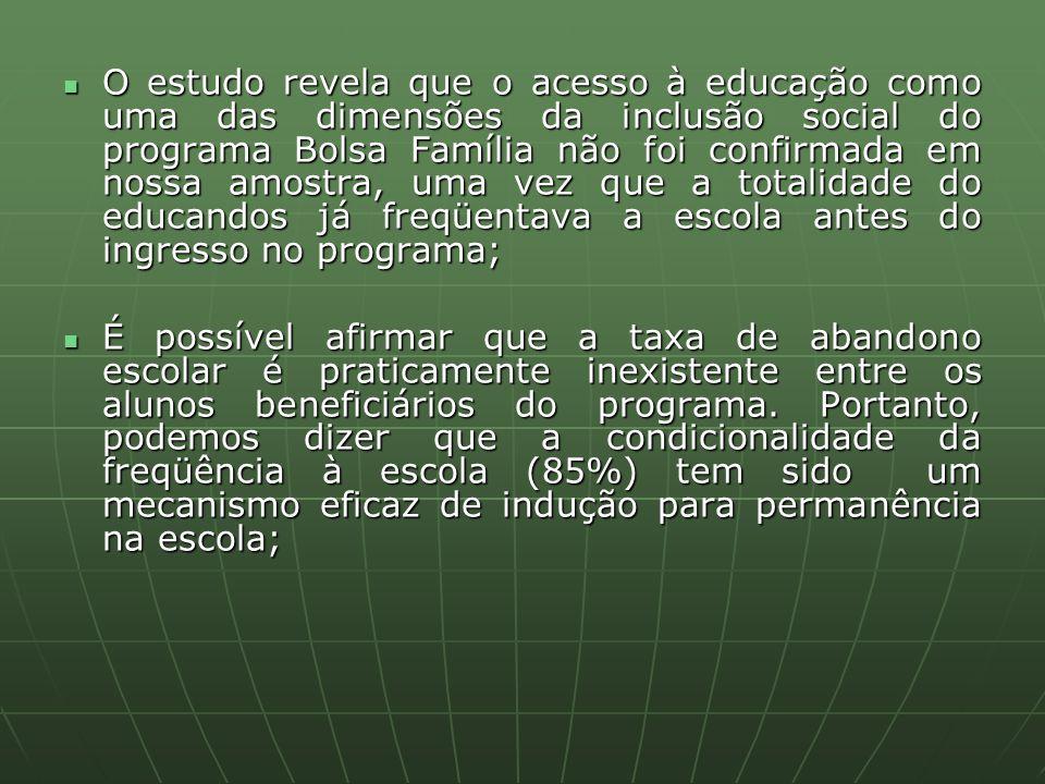 O estudo revela que o acesso à educação como uma das dimensões da inclusão social do programa Bolsa Família não foi confirmada em nossa amostra, uma v