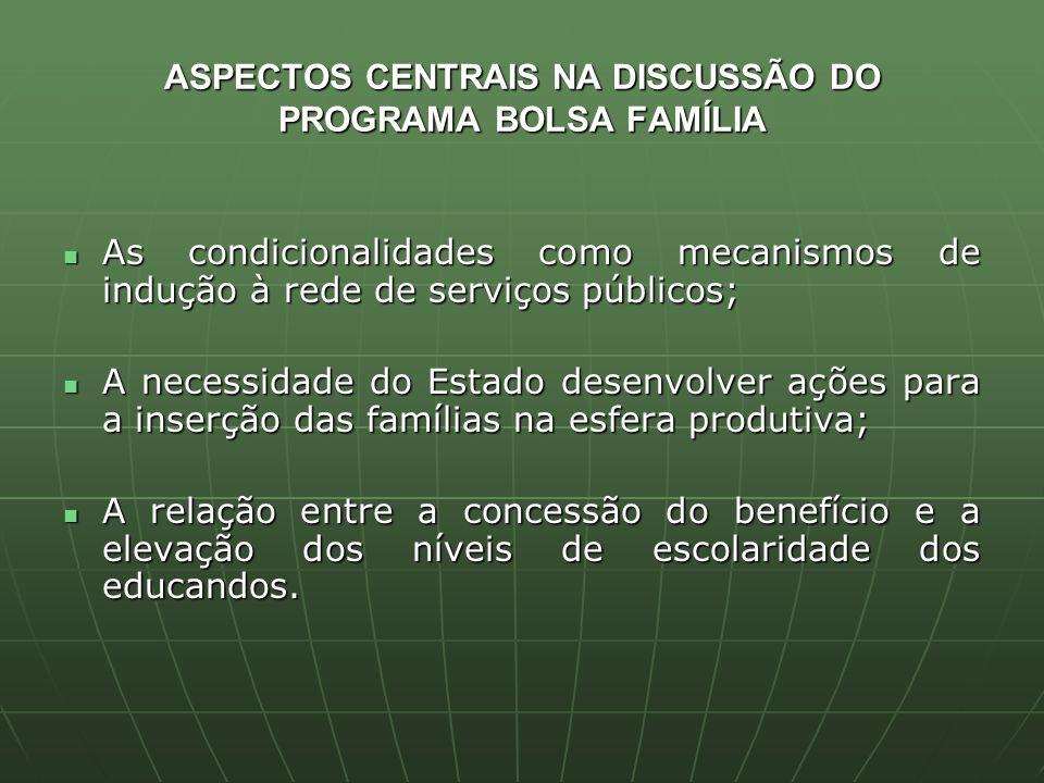 ASPECTOS CENTRAIS NA DISCUSSÃO DO PROGRAMA BOLSA FAMÍLIA As condicionalidades como mecanismos de indução à rede de serviços públicos; As condicionalid
