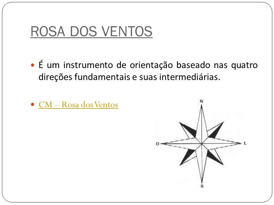ROSA DOS VENTOS É um instrumento de orientação baseado nas quatro direções fundamentais e suas intermediárias. CM – Rosa dos Ventos