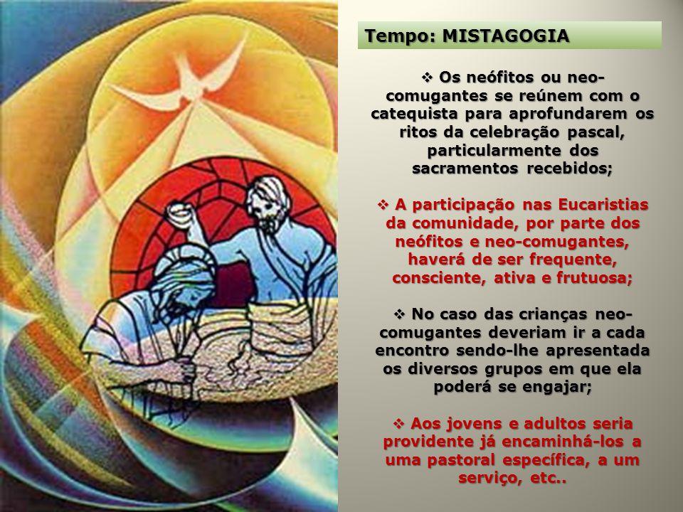 Tempo: MISTAGOGIA Os neófitos ou neo- comugantes se reúnem com o catequista para aprofundarem os ritos da celebração pascal, particularmente dos sacra