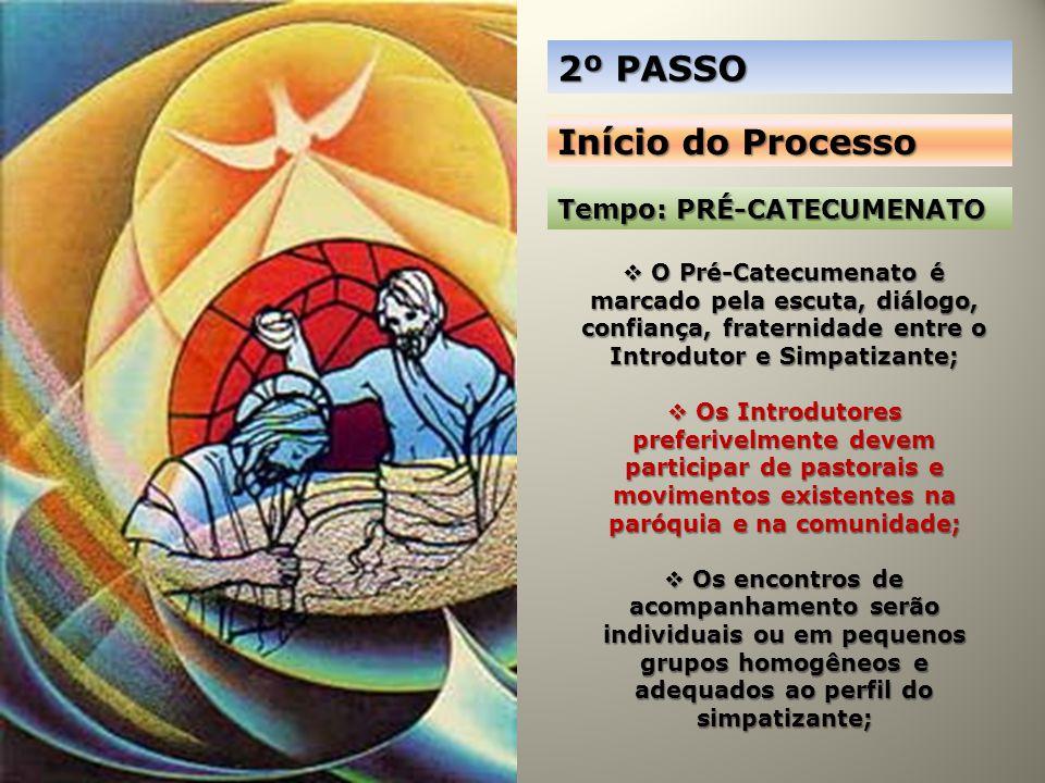 2º PASSO Início do Processo Tempo: PRÉ-CATECUMENATO O Pré-Catecumenato é marcado pela escuta, diálogo, confiança, fraternidade entre o Introdutor e Si