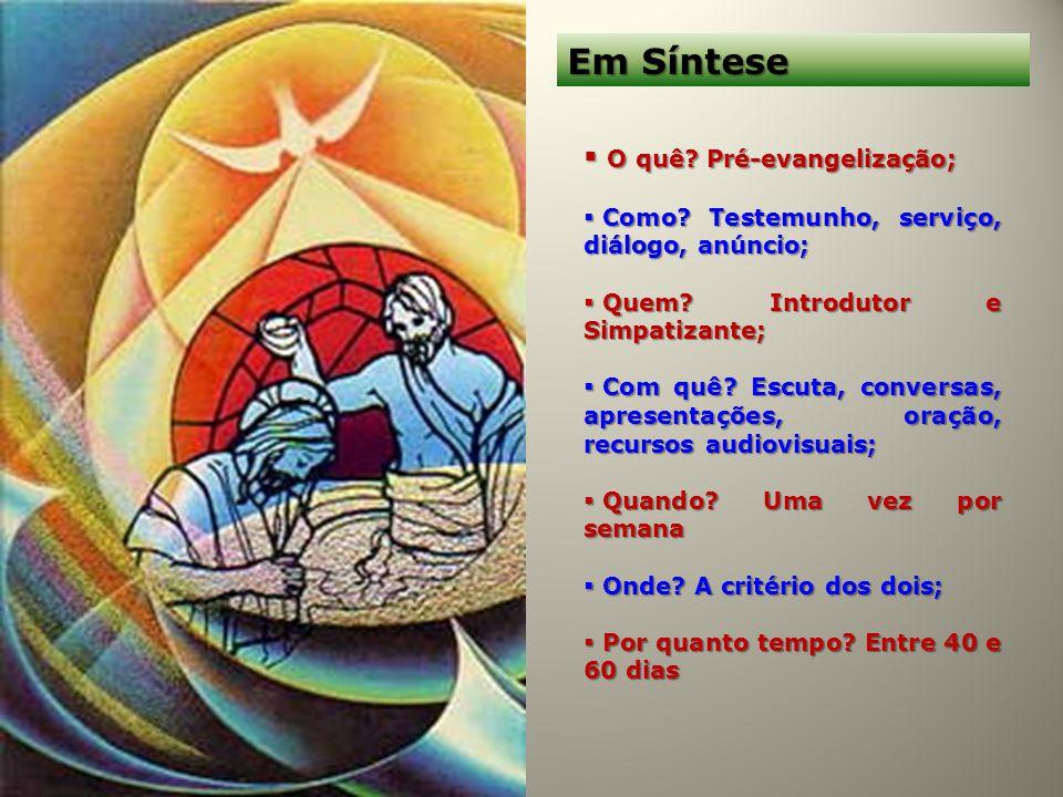 Em Síntese O quê? Pré-evangelização; O quê? Pré-evangelização; Como? Testemunho, serviço, diálogo, anúncio; Como? Testemunho, serviço, diálogo, anúnci