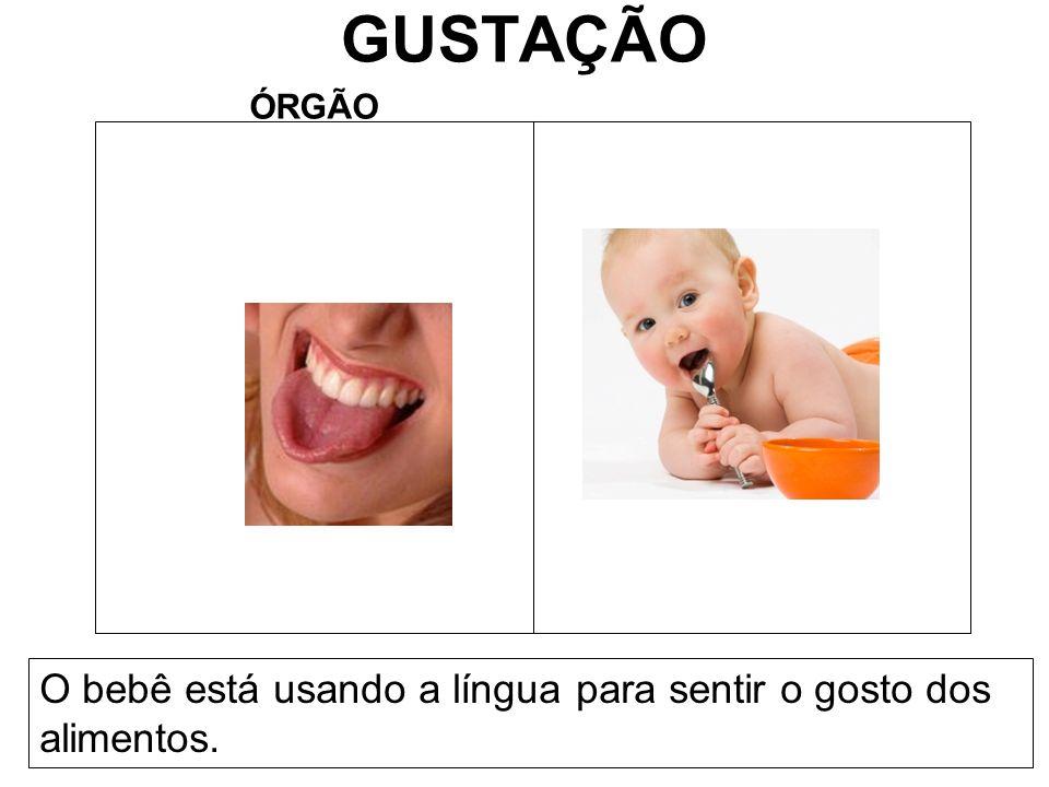 GUSTAÇÃO ÓRGÃO O bebê está usando a língua para sentir o gosto dos alimentos.