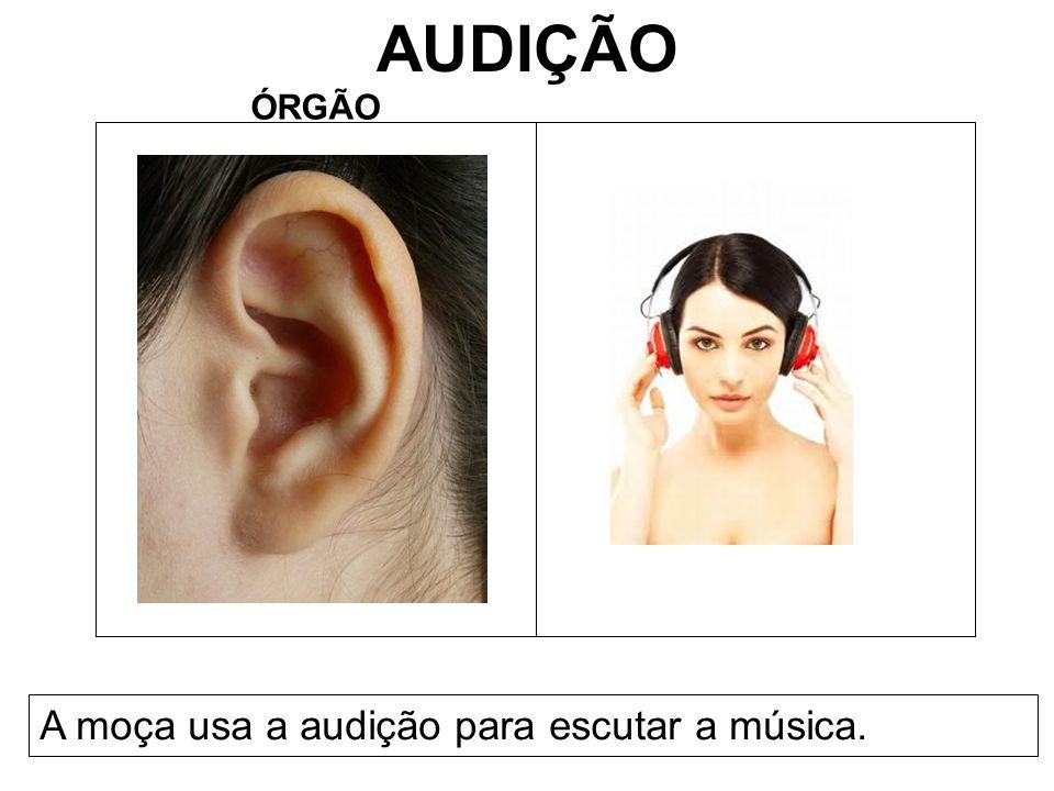 AUDIÇÃO ÓRGÃO A moça usa a audição para escutar a música.