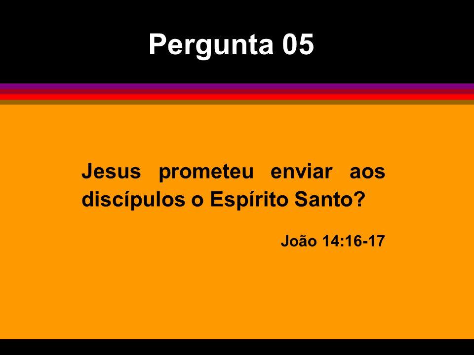 Jesus prometeu enviar aos discípulos o Espírito Santo? João 14:16-17 Pergunta 05