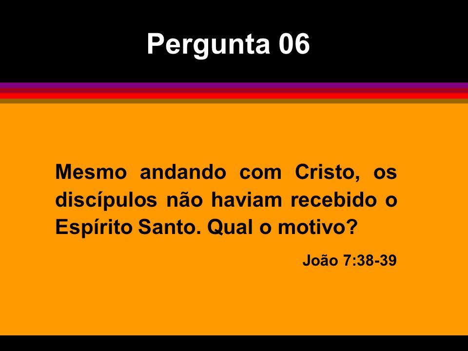 Mesmo andando com Cristo, os discípulos não haviam recebido o Espírito Santo. Qual o motivo? João 7:38-39 Pergunta 06