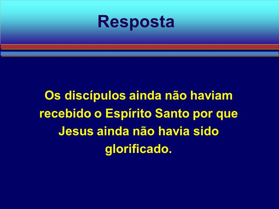 Os discípulos ainda não haviam recebido o Espírito Santo por que Jesus ainda não havia sido glorificado. Resposta