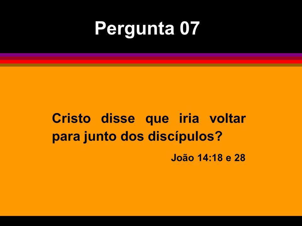 Cristo disse que iria voltar para junto dos discípulos? João 14:18 e 28 Pergunta 07