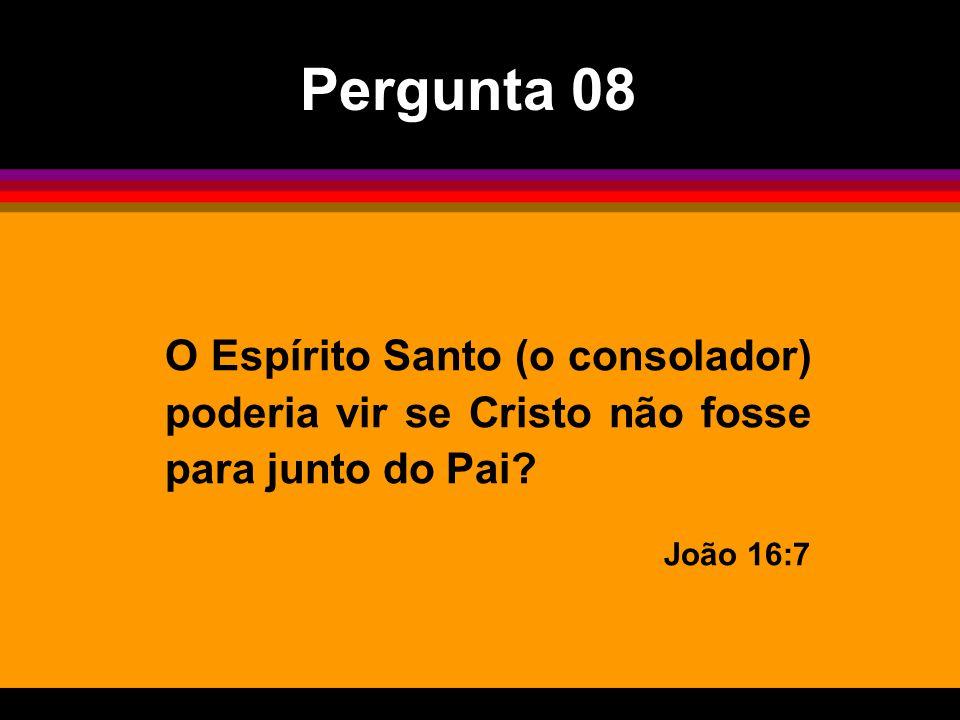 O Espírito Santo (o consolador) poderia vir se Cristo não fosse para junto do Pai? João 16:7 Pergunta 08