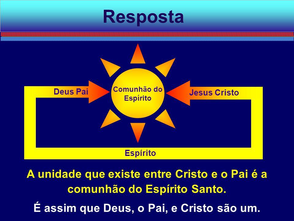 A unidade que existe entre Cristo e o Pai é a comunhão do Espírito Santo. É assim que Deus, o Pai, e Cristo são um. Resposta Espírito Jesus Cristo Deu