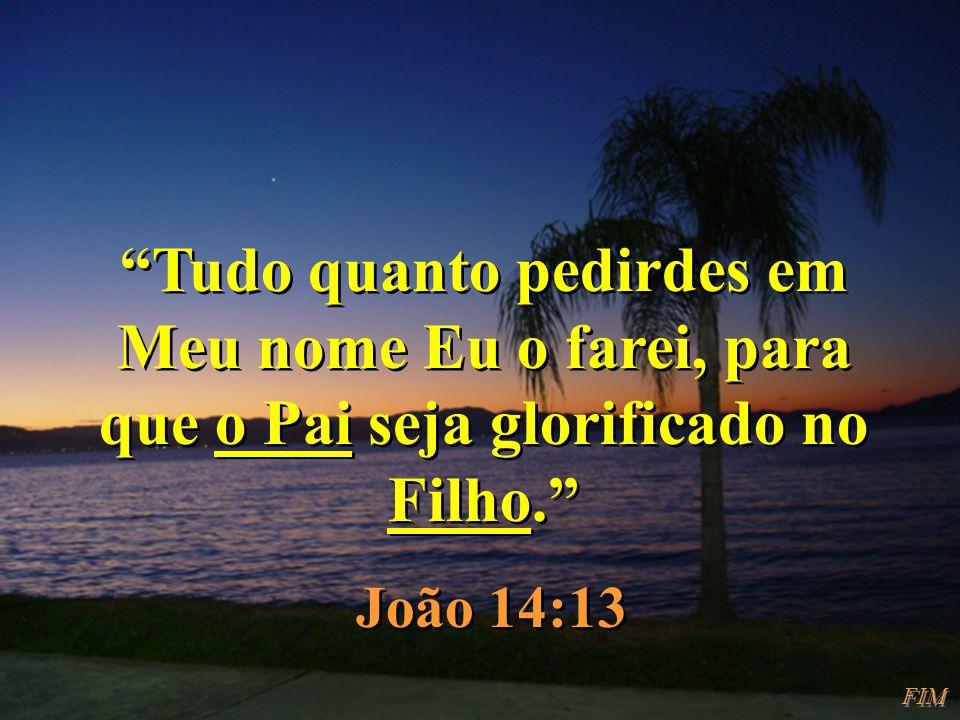 Tudo quanto pedirdes em Meu nome Eu o farei, para que o Pai seja glorificado no Filho. João 14:13 Tudo quanto pedirdes em Meu nome Eu o farei, para qu
