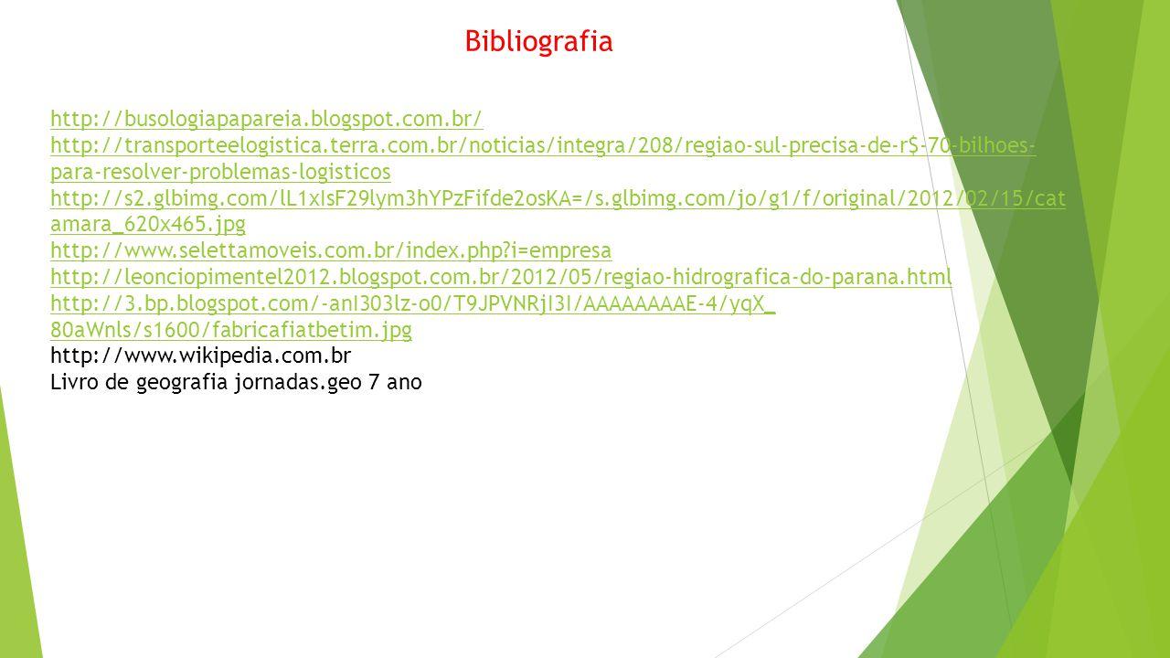 Bibliografia http://busologiapapareia.blogspot.com.br/ http://transporteelogistica.terra.com.br/noticias/integra/208/regiao-sul-precisa-de-r$-70-bilho