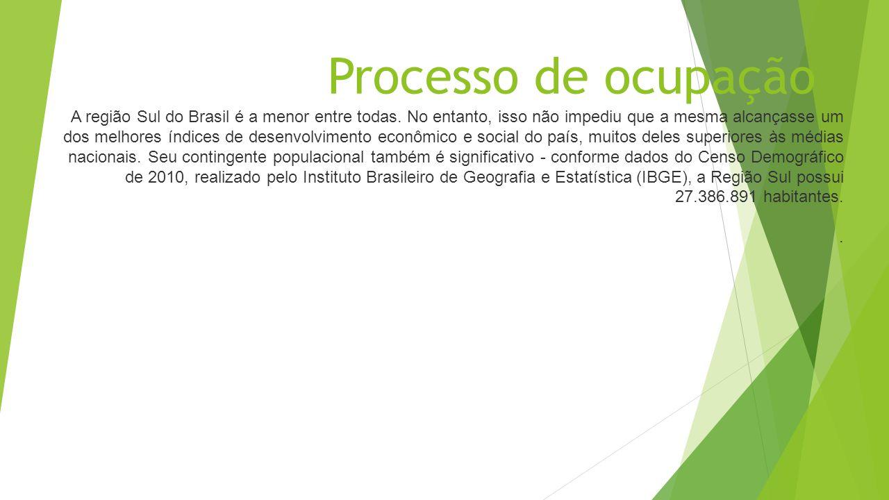 Processo de ocupação A região Sul do Brasil é a menor entre todas. No entanto, isso não impediu que a mesma alcançasse um dos melhores índices de dese
