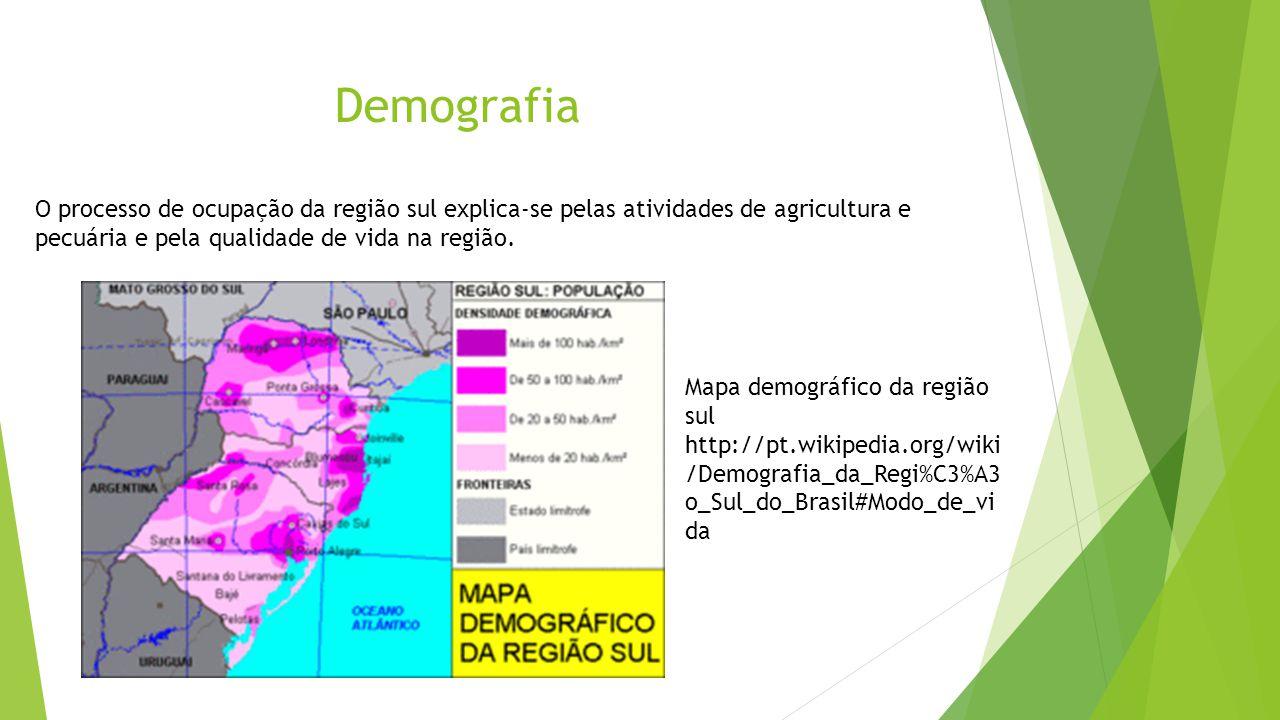Demografia O processo de ocupação da região sul explica-se pelas atividades de agricultura e pecuária e pela qualidade de vida na região. Mapa demográ