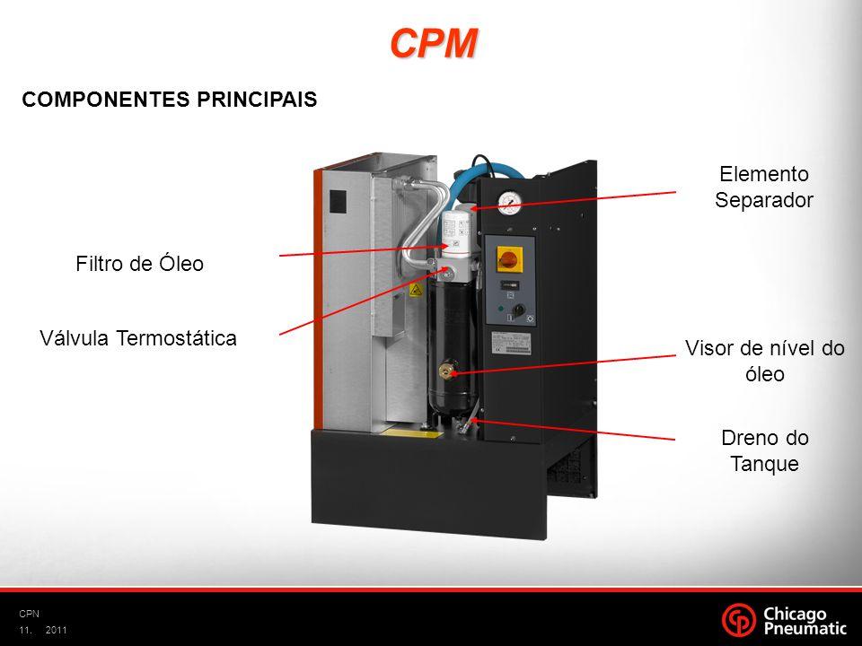 11. CPN 2011 Filtro de Óleo Elemento Separador Visor de nível do óleo Dreno do Tanque Válvula Termostática CPM COMPONENTES PRINCIPAIS