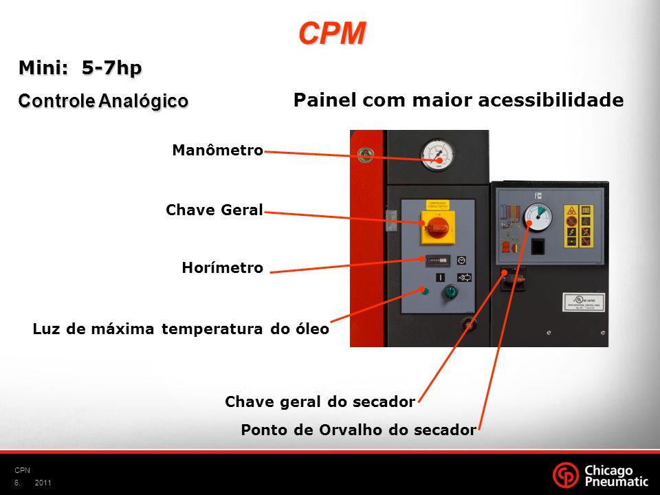 6. CPN 2011 Manômetro Chave Geral Horímetro Luz de máxima temperatura do óleo Chave geral do secador Ponto de Orvalho do secador Mini: 5-7hp Controle