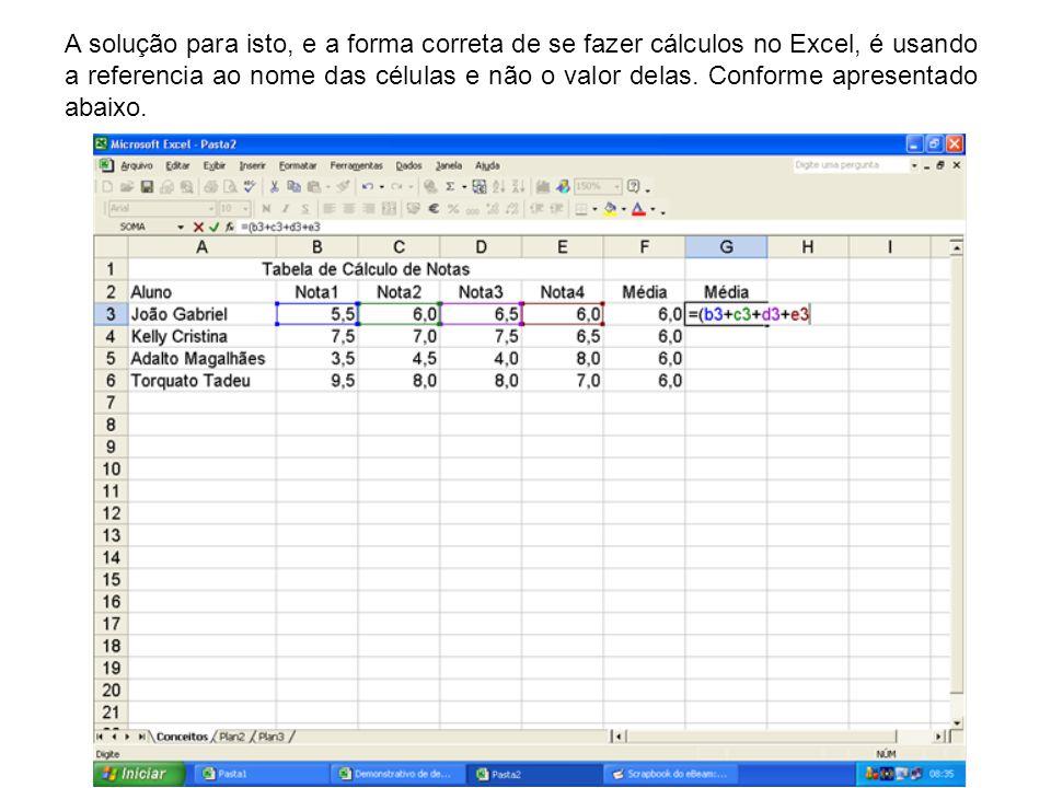 A solução para isto, e a forma correta de se fazer cálculos no Excel, é usando a referencia ao nome das células e não o valor delas. Conforme apresent