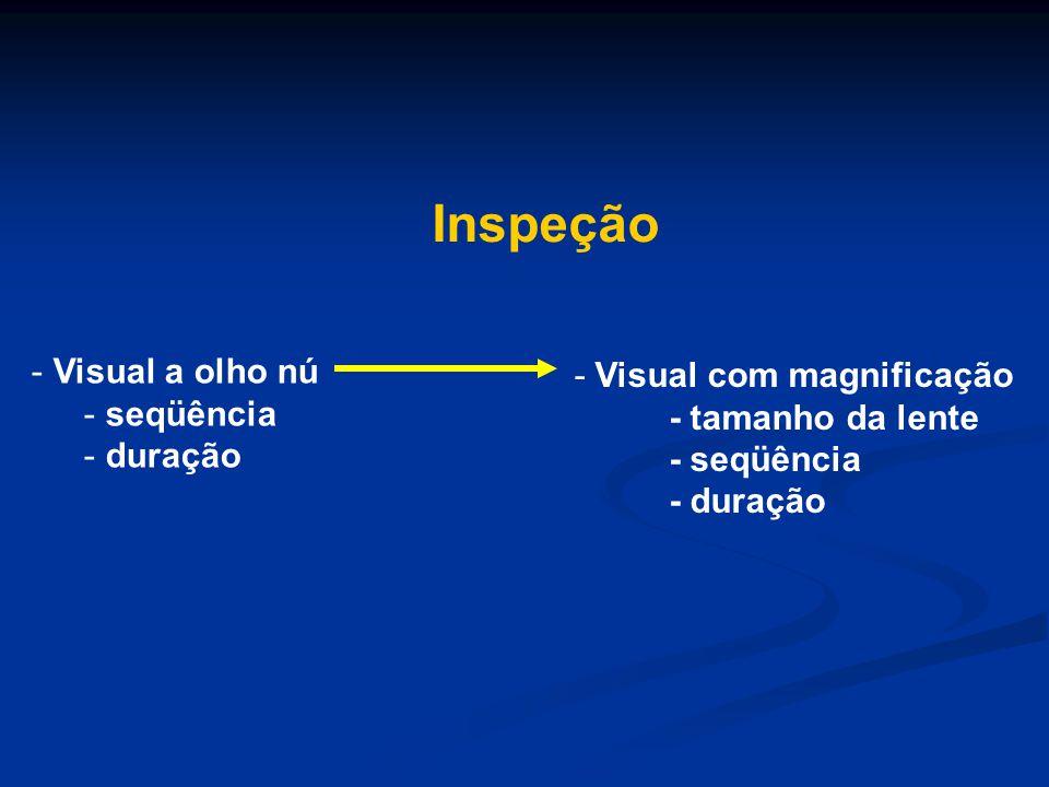 - Visual a olho nú - seqüência - duração - Visual com magnificação - tamanho da lente - seqüência - duração Inspeção
