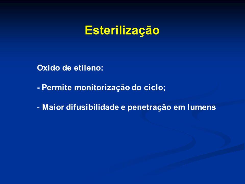 Esterilização Oxido de etileno: - Permite monitorização do ciclo; - Maior difusibilidade e penetração em lumens