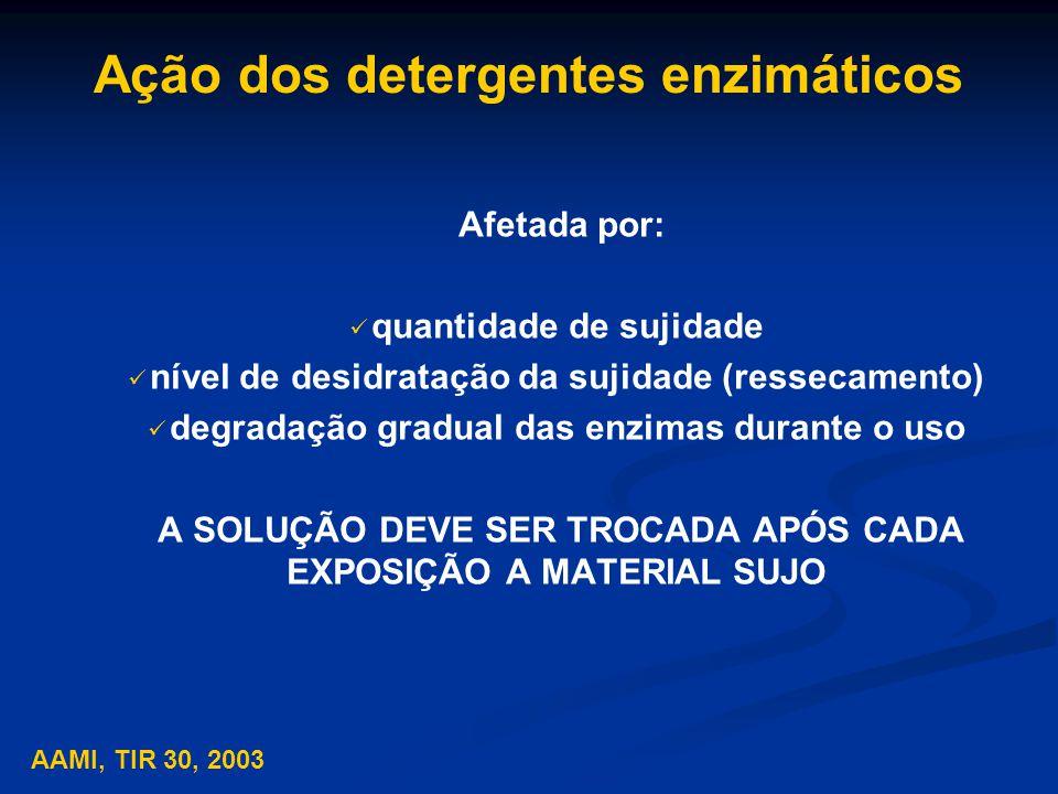 Ação dos detergentes enzimáticos Afetada por: quantidade de sujidade nível de desidratação da sujidade (ressecamento) degradação gradual das enzimas durante o uso A SOLUÇÃO DEVE SER TROCADA APÓS CADA EXPOSIÇÃO A MATERIAL SUJO AAMI, TIR 30, 2003