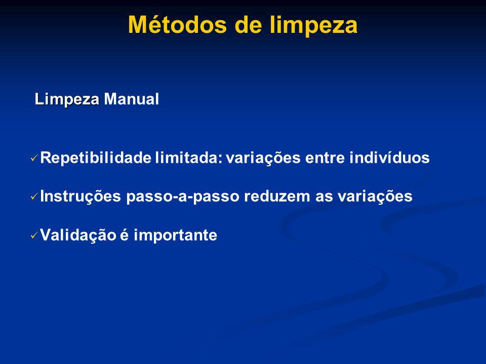 Métodos de limpeza Limpeza Limpeza Manual Repetibilidade limitada: variações entre indivíduos Instruções passo-a-passo reduzem as variações Validação é importante