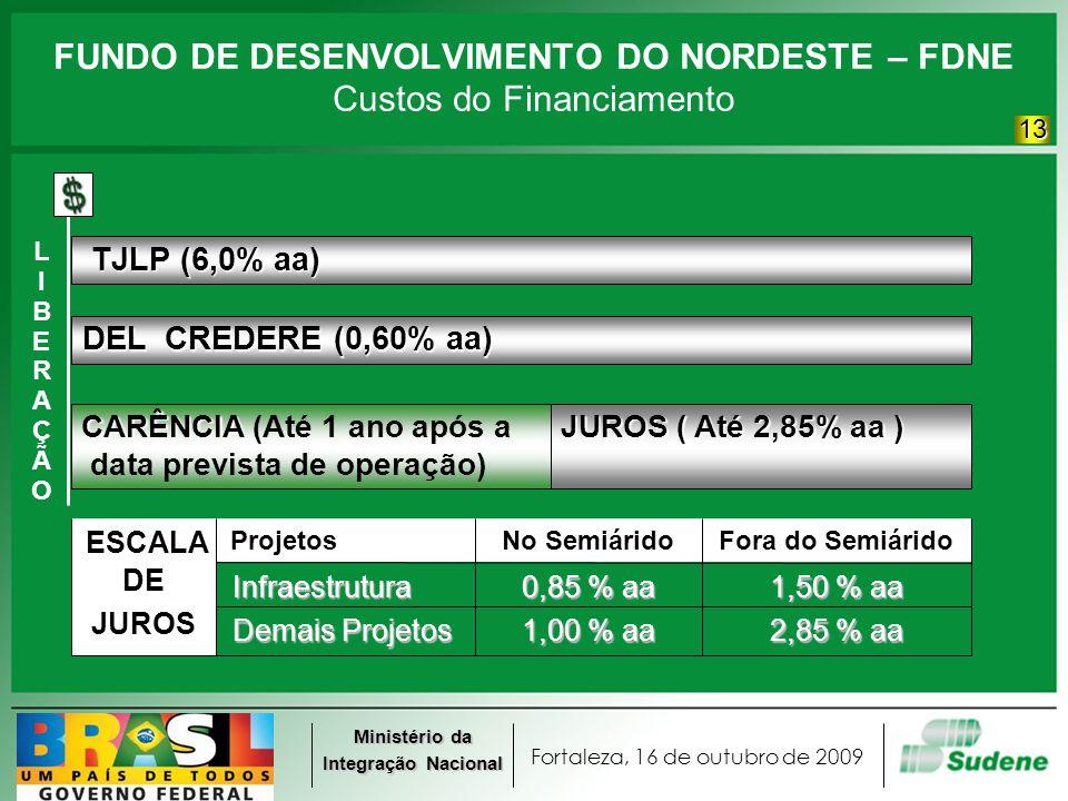 Fortaleza, 16 de outubro de 2009 Ministério da Integração Nacional FUNDO DE DESENVOLVIMENTO DO NORDESTE – FDNE DEL CREDERE (0,60% aa) TJLP (6,0% aa) TJLP (6,0% aa) CARÊNCIA CARÊNCIA (Até 1 ano após a data prevista de operação) JUROS ( Até 2,85% aa ) LIBERAÇÃOLIBERAÇÃO Fora do SemiáridoNo Semiárido Projetos ESCALA 2,85 % aa 1,00 % aa Demais Projetos Demais Projetos JUROS 1,50 % aa 0,85 % aa Infraestrutura Infraestrutura DE Custos do Financiamento 13