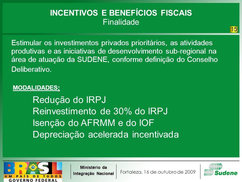 Fortaleza, 16 de outubro de 2009 Ministério da Integração Nacional INCENTIVOS E BENEFÍCIOS FISCAIS Finalidade Estimular os investimentos privados prio