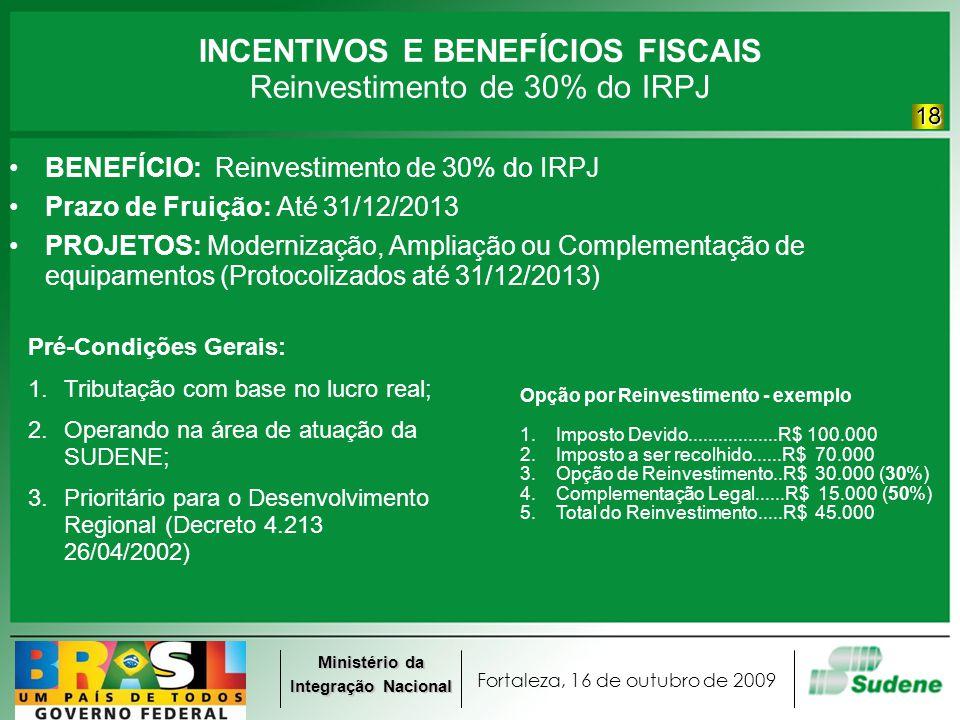 Fortaleza, 16 de outubro de 2009 Ministério da Integração Nacional INCENTIVOS E BENEFÍCIOS FISCAIS Reinvestimento de 30% do IRPJ BENEFÍCIO: Reinvestim
