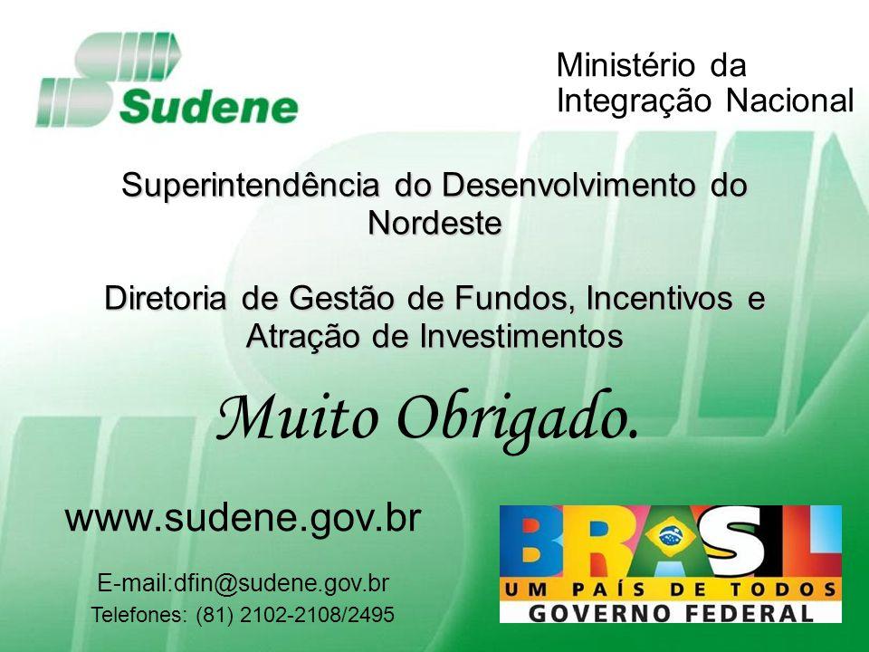 Fortaleza, 16 de outubro de 2009 Ministério da Integração Nacional Superintendência do Desenvolvimento do Nordeste Diretoria de Gestão de Fundos, Ince