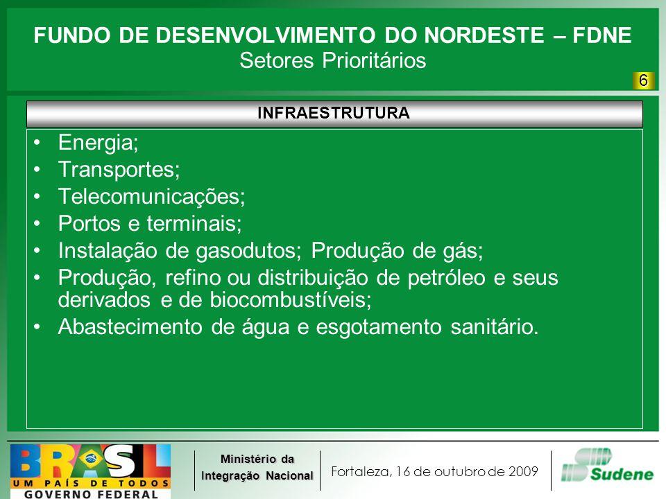 Fortaleza, 16 de outubro de 2009 Ministério da Integração Nacional FUNDO DE DESENVOLVIMENTO DO NORDESTE – FDNE Setores Prioritários INFRAESTRUTURA Ene