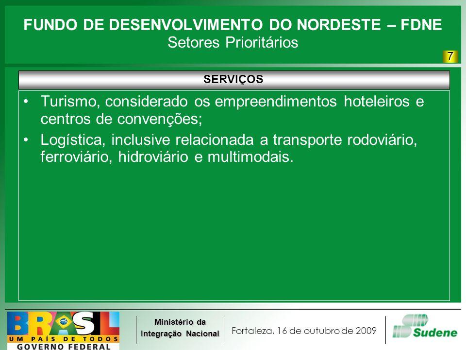 Fortaleza, 16 de outubro de 2009 Ministério da Integração Nacional FUNDO DE DESENVOLVIMENTO DO NORDESTE – FDNE Setores Prioritários SERVIÇOS Turismo,