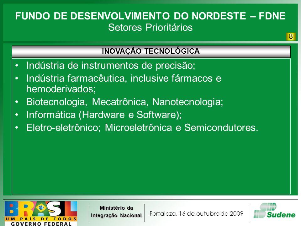 Fortaleza, 16 de outubro de 2009 Ministério da Integração Nacional FUNDO DE DESENVOLVIMENTO DO NORDESTE – FDNE Setores Prioritários INOVAÇÃO TECNOLÓGICA Indústria de instrumentos de precisão; Indústria farmacêutica, inclusive fármacos e hemoderivados; Biotecnologia, Mecatrônica, Nanotecnologia; Informática (Hardware e Software); Eletro-eletrônico; Microeletrônica e Semicondutores.