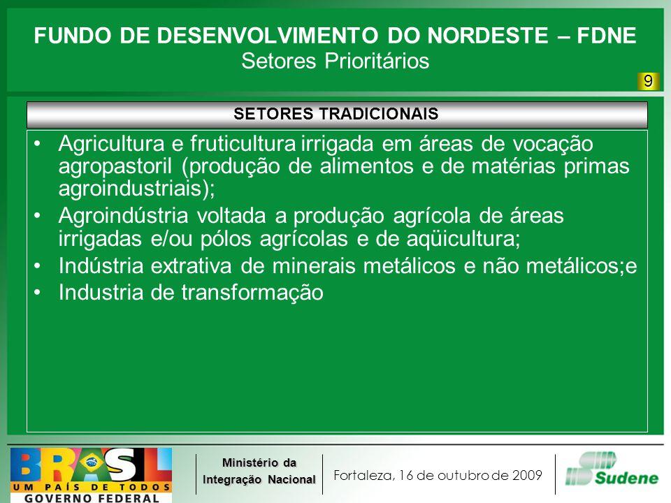 Fortaleza, 16 de outubro de 2009 Ministério da Integração Nacional FUNDO DE DESENVOLVIMENTO DO NORDESTE – FDNE Setores Prioritários SETORES TRADICIONA