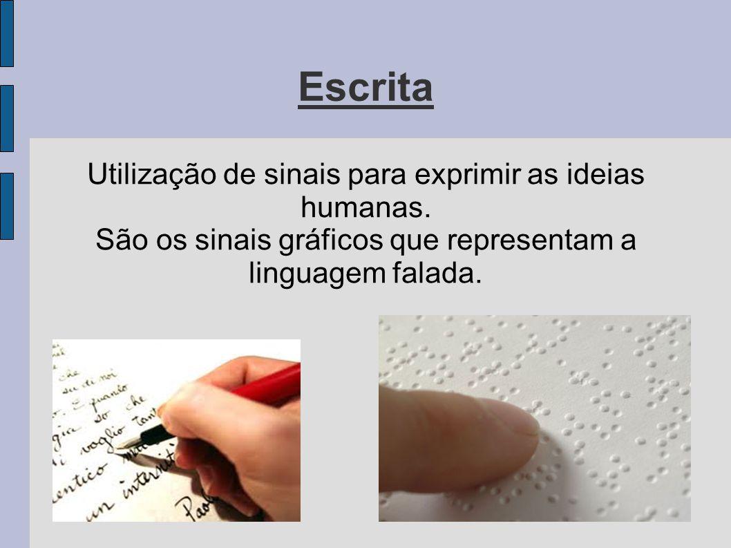 Escrita Utilização de sinais para exprimir as ideias humanas. São os sinais gráficos que representam a linguagem falada.