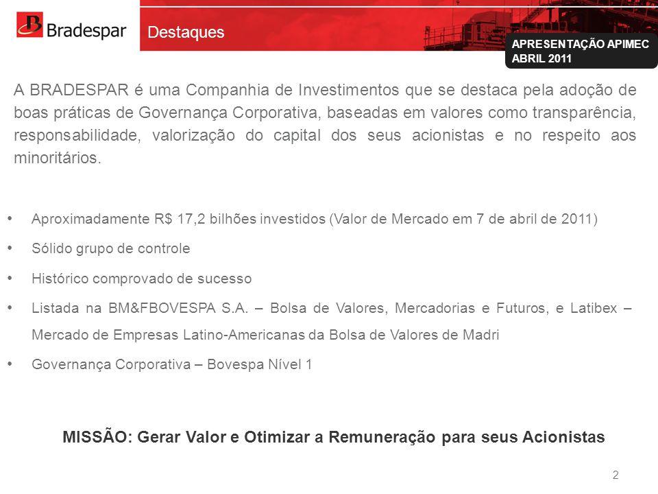 Institucional APRESENTAÇÃO APIMEC ABRIL 2011 A BRADESPAR é uma Companhia de Investimentos que se destaca pela adoção de boas práticas de Governança Co
